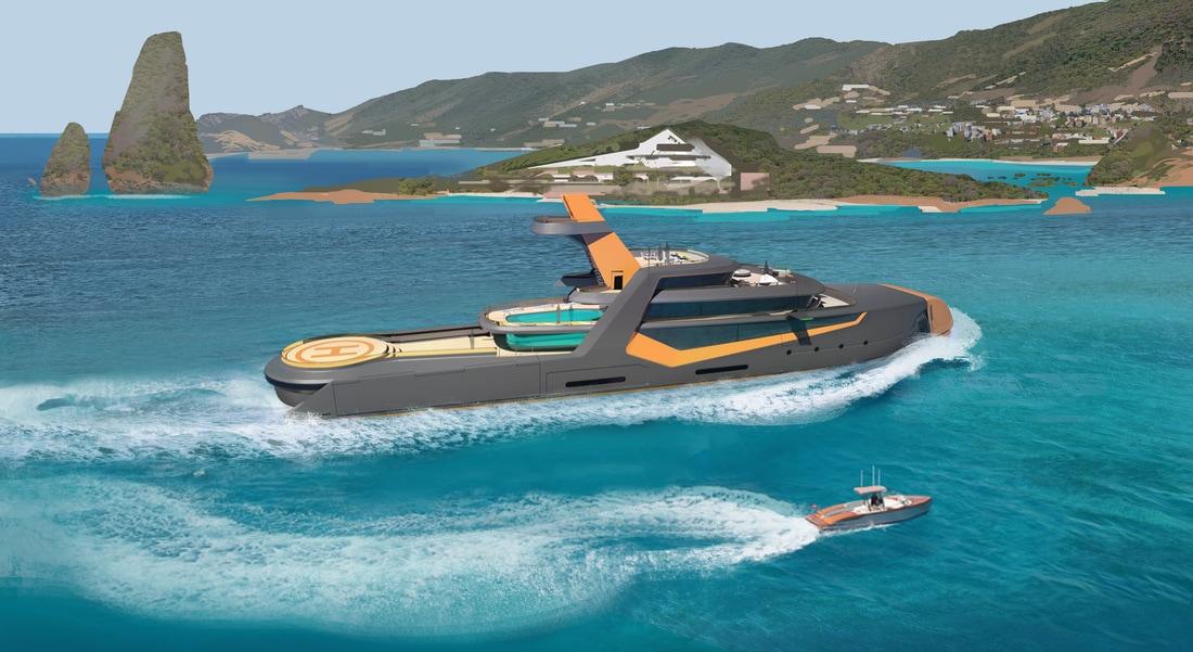 El súper yate 'Time' lo tiene todo: un beach club de lujo, pared de escalar, plataforma de expedición e incluso una aeronave ultra futurista