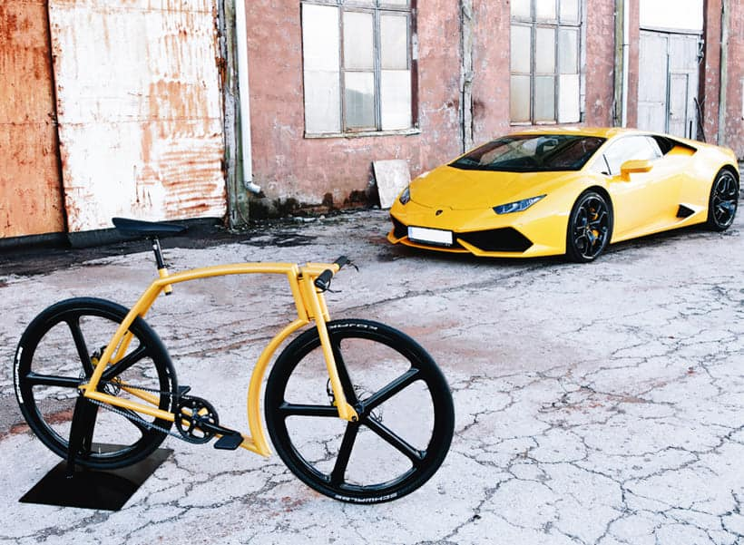 Esta increíble bicicleta de Velonia Bicycles ha sido inspirada en el superdeportivo Lamborghini Huracan