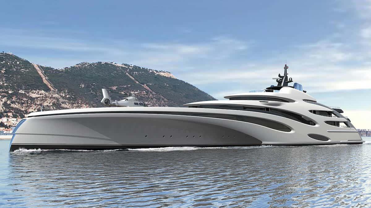 Mega futurista Trimarán de 120 metros por Echo Yachts
