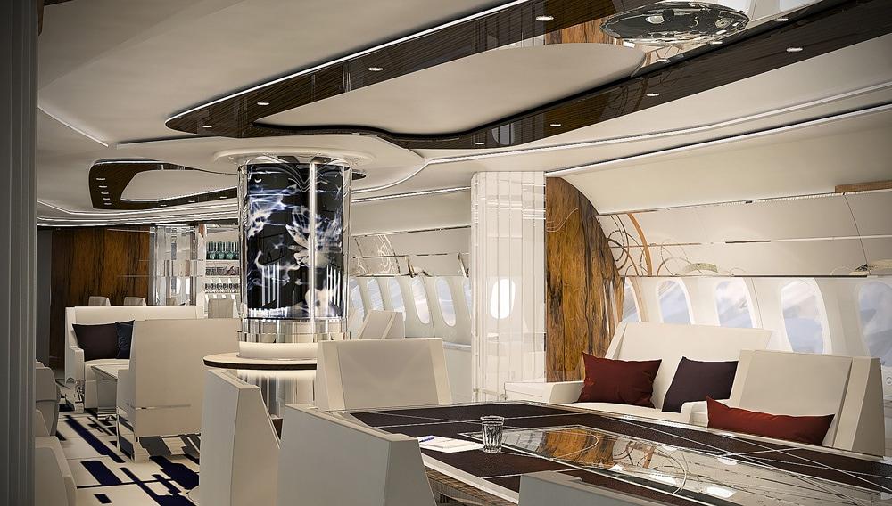Greenpoint acondiciona el interior del colosal avión Boeing 787-9 Dreamliner hasta convertirlo en un palacio aéreo ultra lujoso