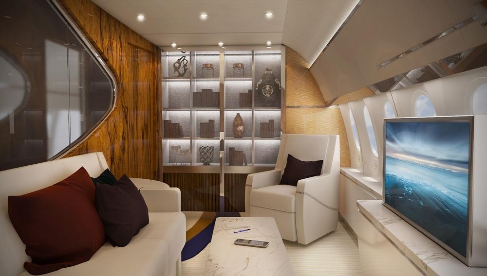 Greenpoint acondiciona el interior de este colosal avión y lo convierte en un palacio aéreo ultra lujoso