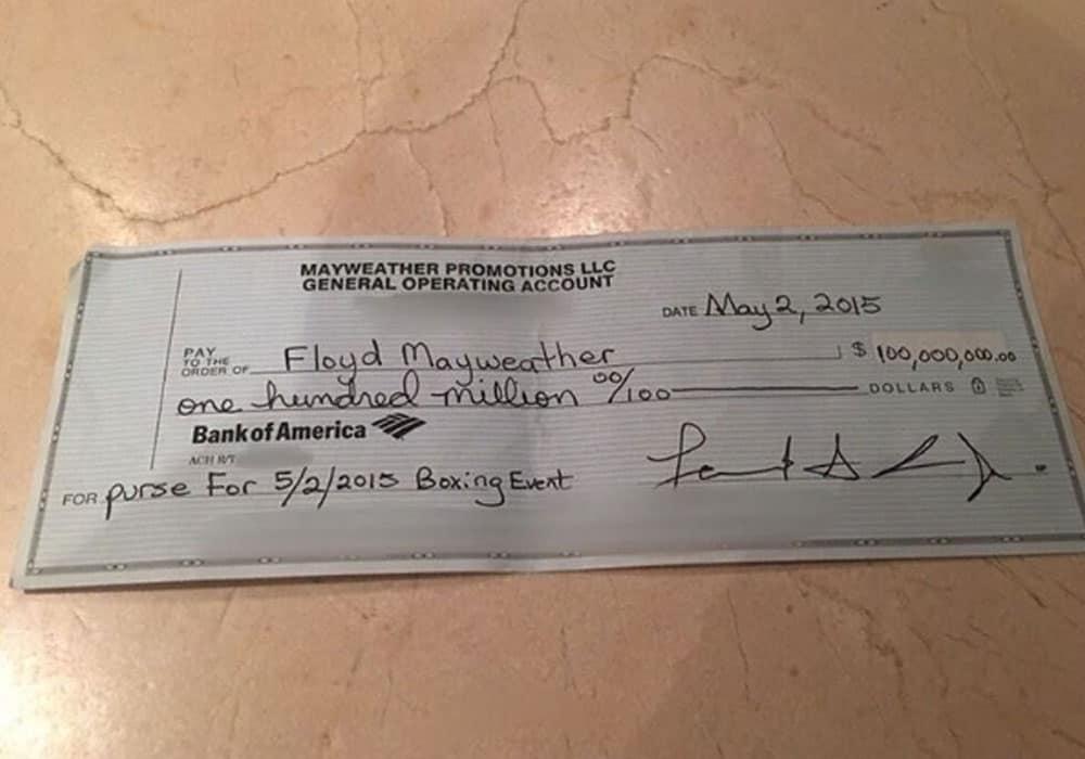 Cheque de Floyd Mayweather