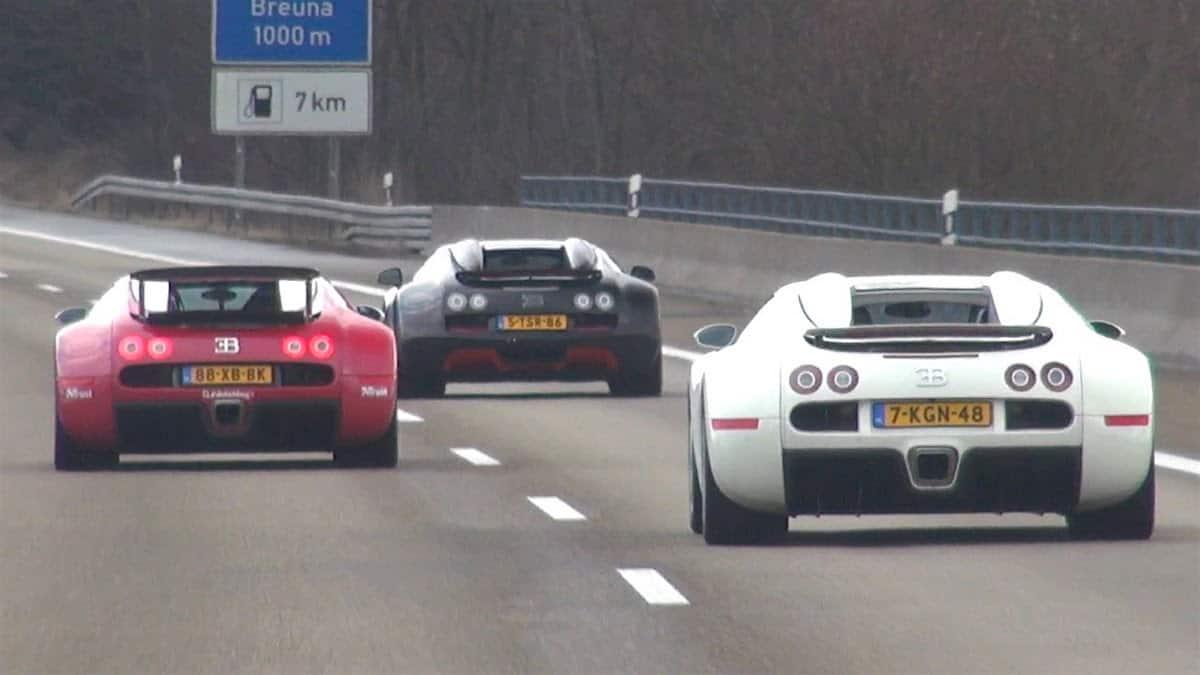 ¡Nunca antes visto! 3 Bugattis juntos en la carretera