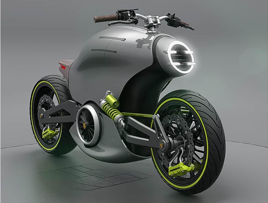 ¡BRUTAL! Así sería la increíble y futurista motocicleta eléctrica Porsche 618