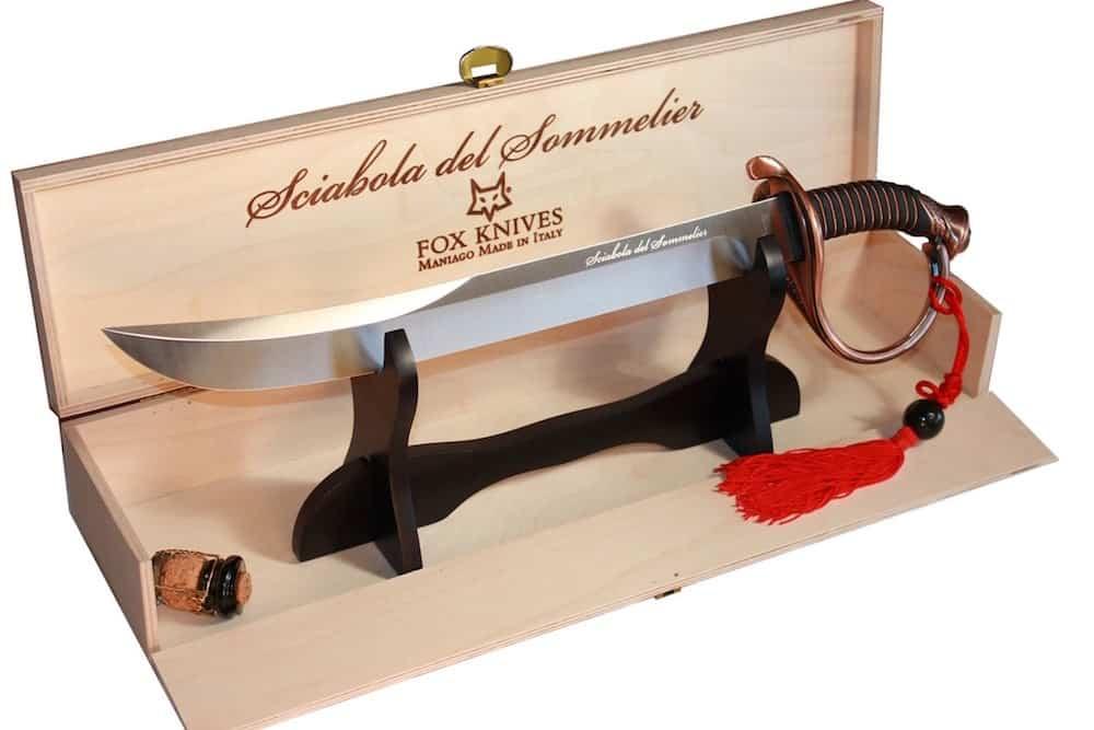 Exclusivos sables Sciabola del Sommelier + Aprenda la forma de abrir una botella de champán con una espada