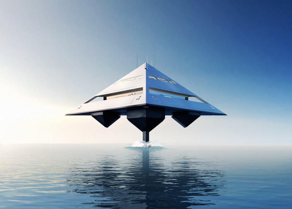 Tetrahedron: Este super yate en forma de pirámide se levanta como si estuviera levitando sobre el mar