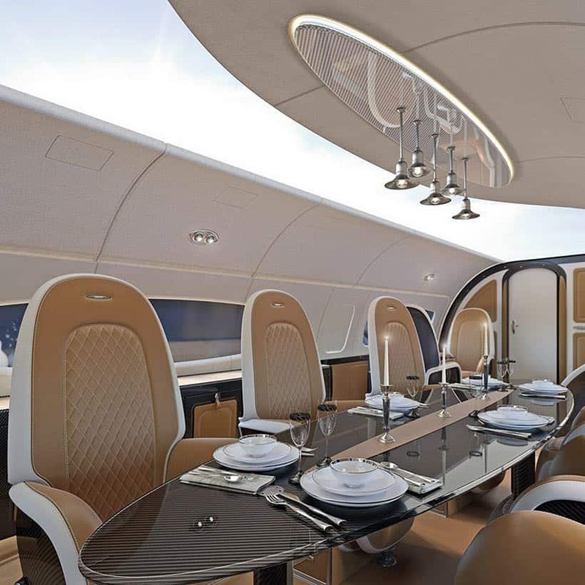 Con pantalla en todo el techo, Pagani diseñó cabina del Infinito, jet privado de Airbus
