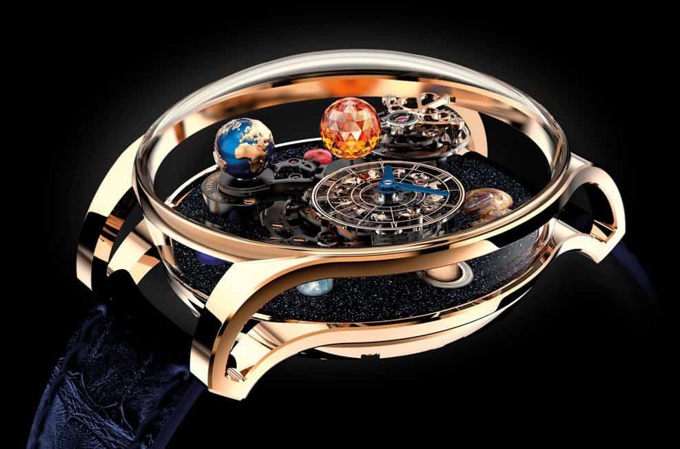 cd01797f0d08 Los brillantes relojeros de Jacob   Co. han desarrollado una alucinante  representación de la Tierra y su sistema solar en la forma de un espectacular  reloj ...