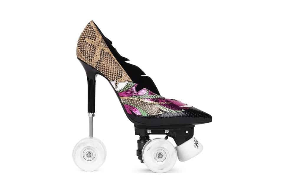 Anya 100 Patch Pump Roller: Saint Laurent presenta un par de Stiletto en ruedas