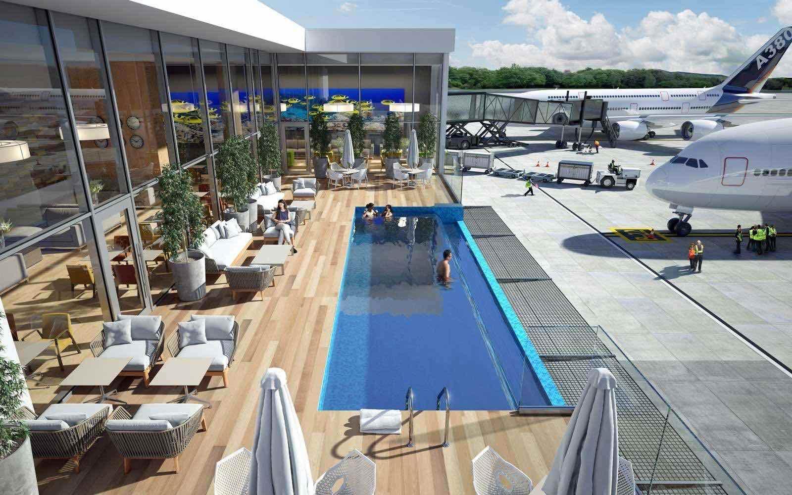"""El """"Aeropuerto Internacional"""" de Punta Cana agregará piscina de borde infinito al lado de la pista de aterrizaje"""
