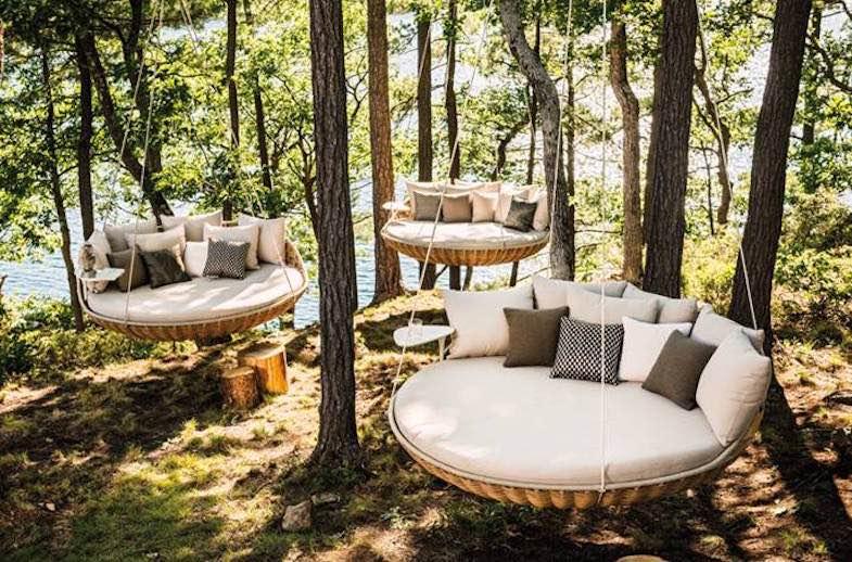 Exclusiva hamaca Dedon Swingrest – Perfecta para colgar en la terraza, porche o bajo techo, diseñada por Daniel Pouzet
