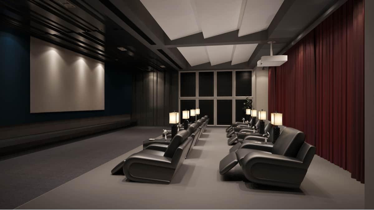 Moderno sistema de cine en casa privado con proyector