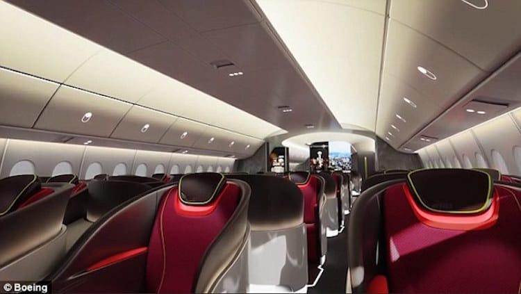 Boeing Company hace alarde del interior de las próximas cabinas de lujo con techos LED y pantallas curvadas