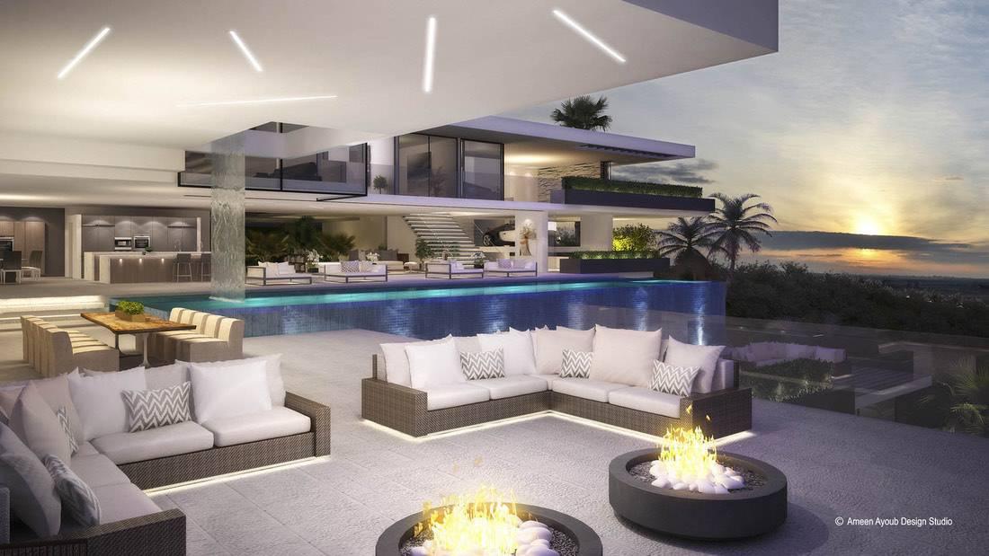 Ameen Ayoub Design Studio creó dos ultra modernos diseños de dos lujosas mansiones para el futuro dueño de este exclusivo terreno en 2251 Sunset Plaza, Los Ángeles