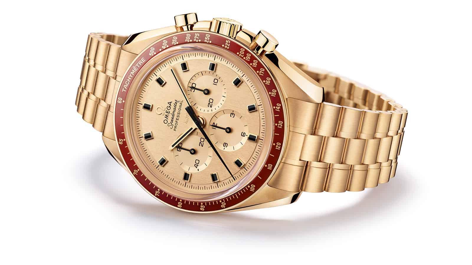 Súper exclusiva edición limitada en oro Moonshine del reloj Omega Speedmaster Apollo 11