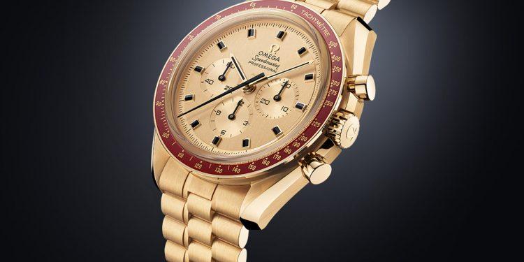 b45eb99ce8a1 Súper exclusiva edición limitada en oro Moonshine del reloj Omega  Speedmaster Apollo 11