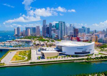 Vista aérea del centro de Miami, Florida