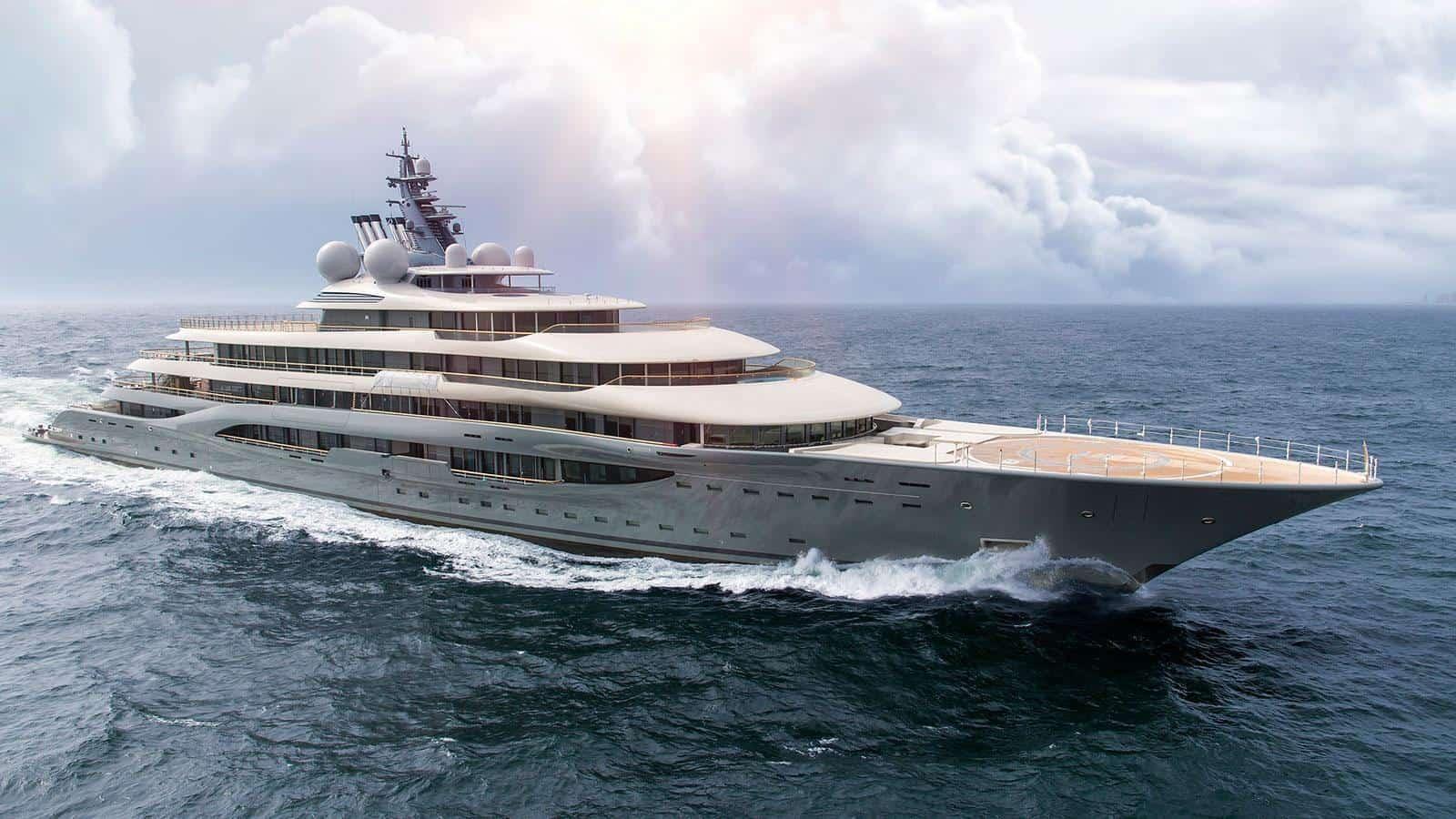 Flying Fox , uno de los barcos nuevos Lürssen más grande del mundo.