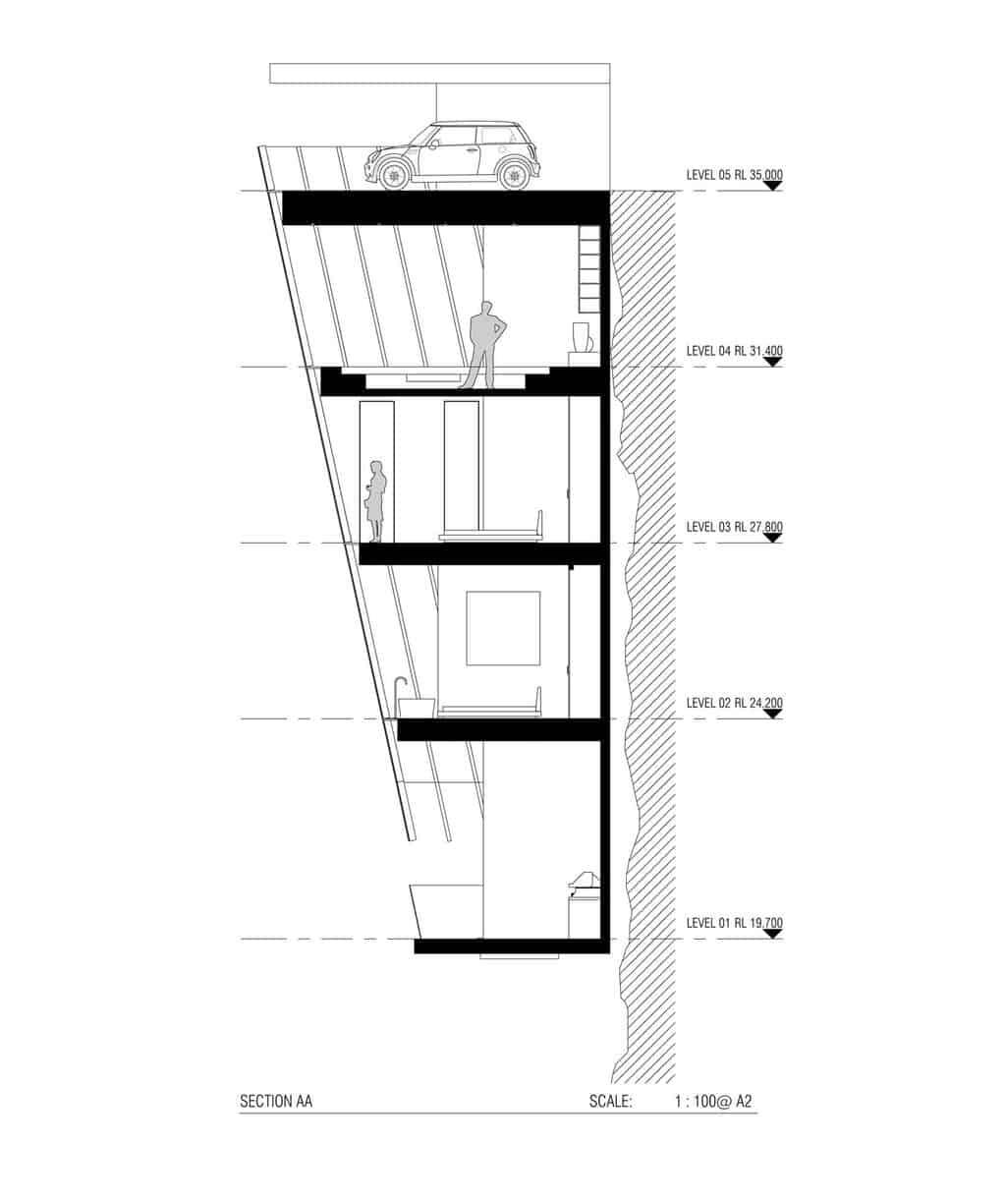 Original casa modular suspendida en un acantilado sobre el océano australiano