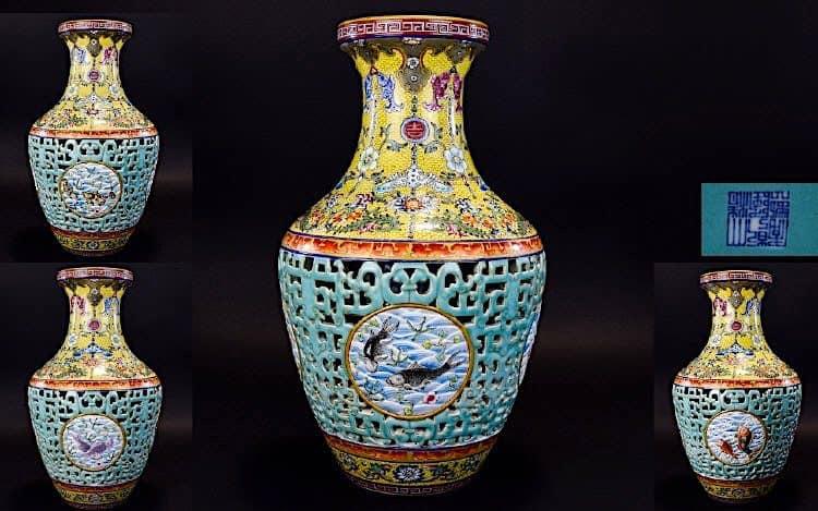 Antiguo florero de la dinastía Pinner Qing