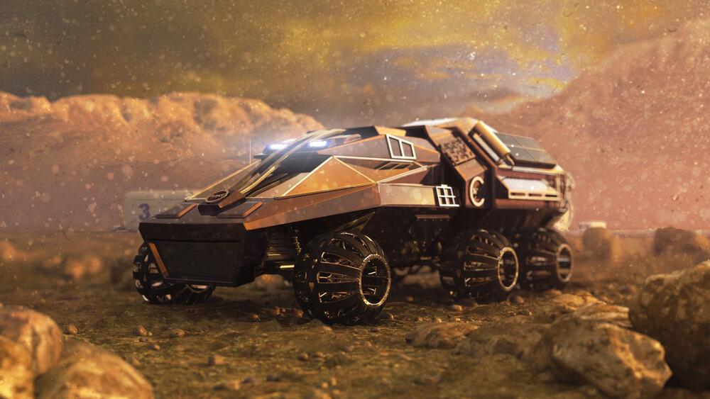 Mars Rover, un vehículo (concepto) motorizado para desplazarse por la superficie de Marte a su llegada.
