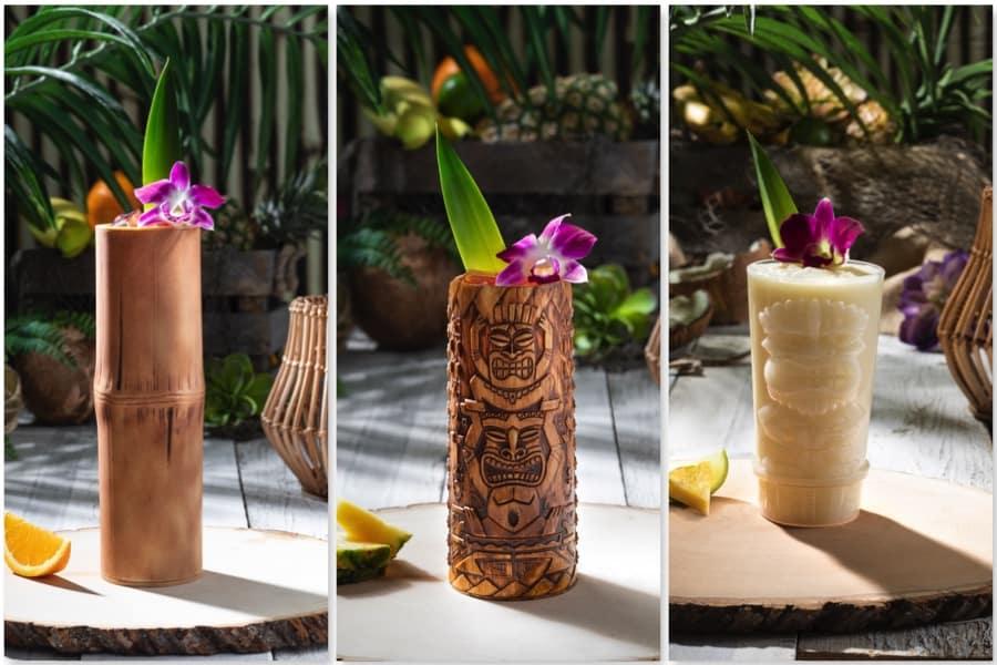 Cocteles tiki en la isla Nu-Bar: Bamboo-Style Tiki Cup, Etched Tiki Cup, Piña Colada