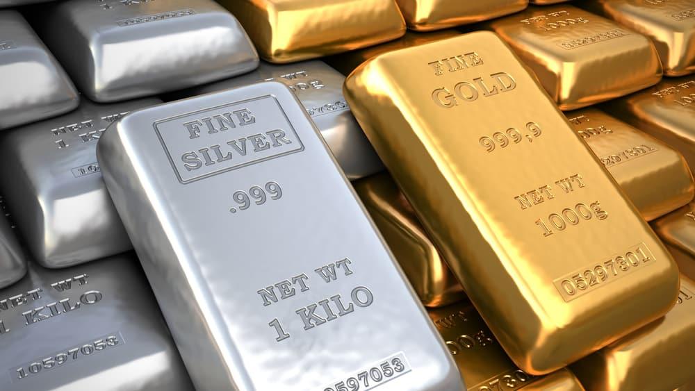 Lingotes de plata y oro