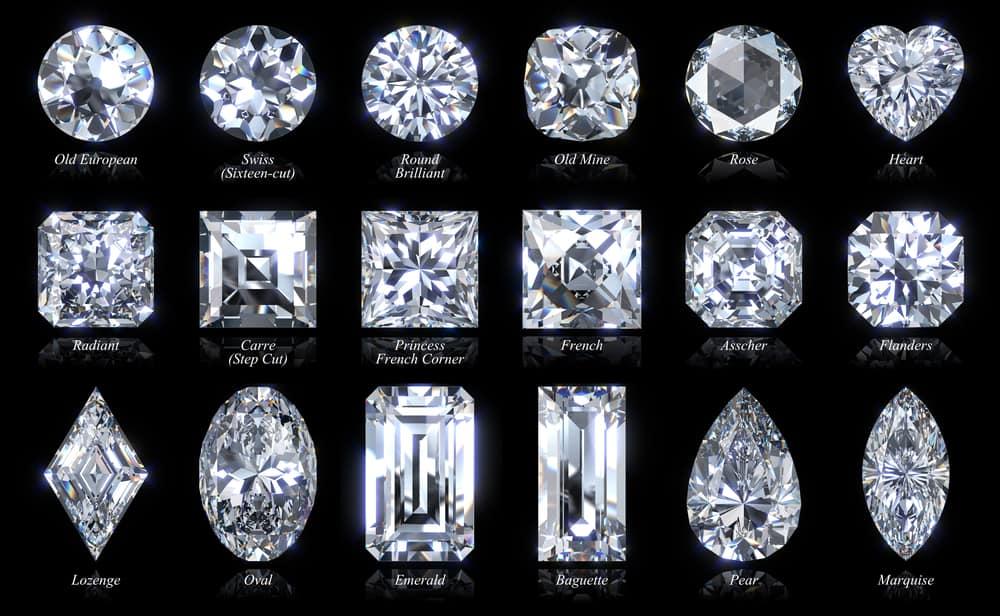Dieciocho estilos y formas diferentes de corte de diamantes.