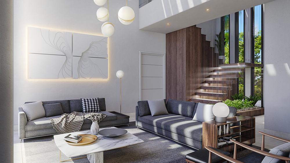 La sala de la nueva vivienda de Cristiano Ronaldo en Marbella.