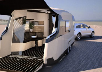 CARAVISIO, esta caravana concepto es controlada por una iPad y tiene su propio cine