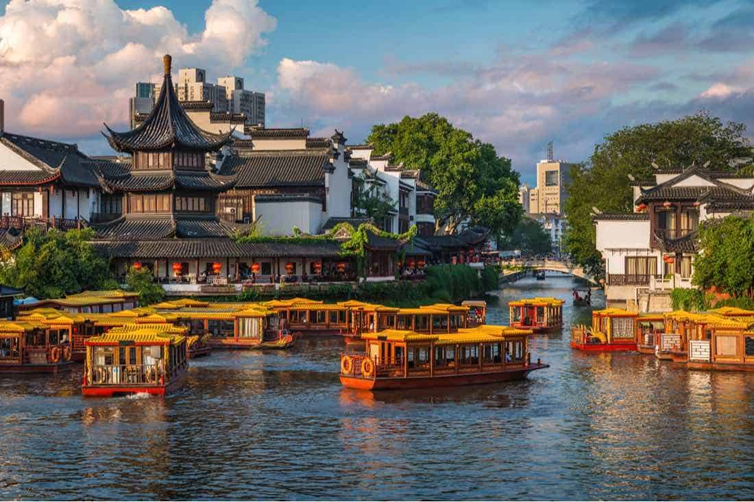 El área del Templo de Confucio en Nanjing, China