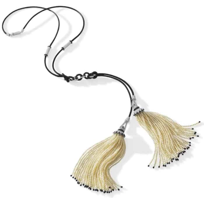 Collar de perlas Sautoir de doble borla con ónix y diamantes