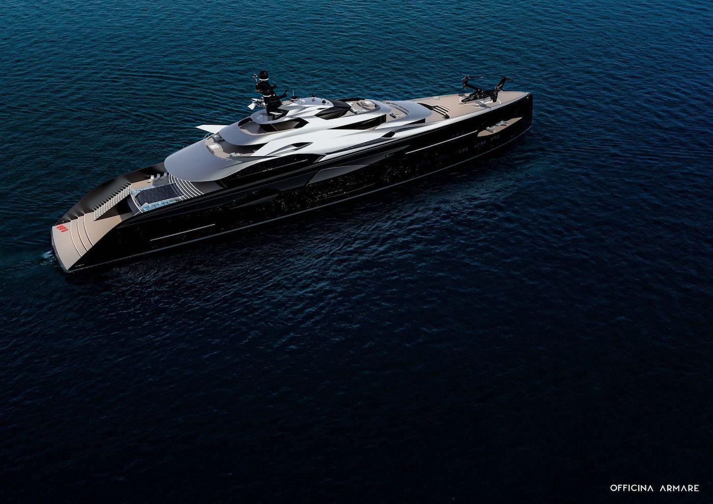 Un megayate con un diseño lujoso, deportivo y futurista