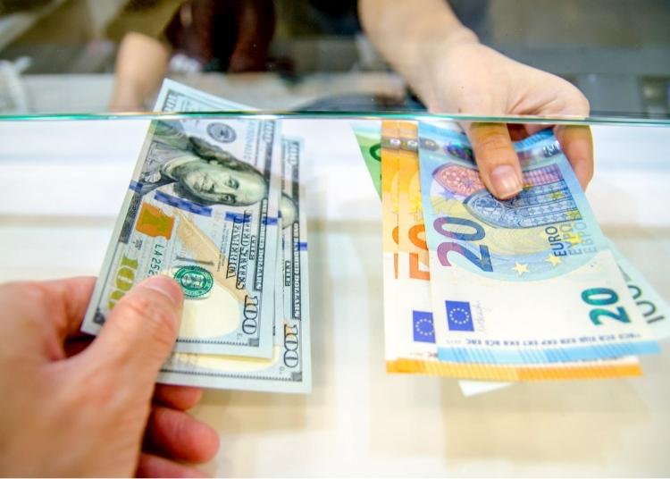 Dinero dólares y euros en efectivo