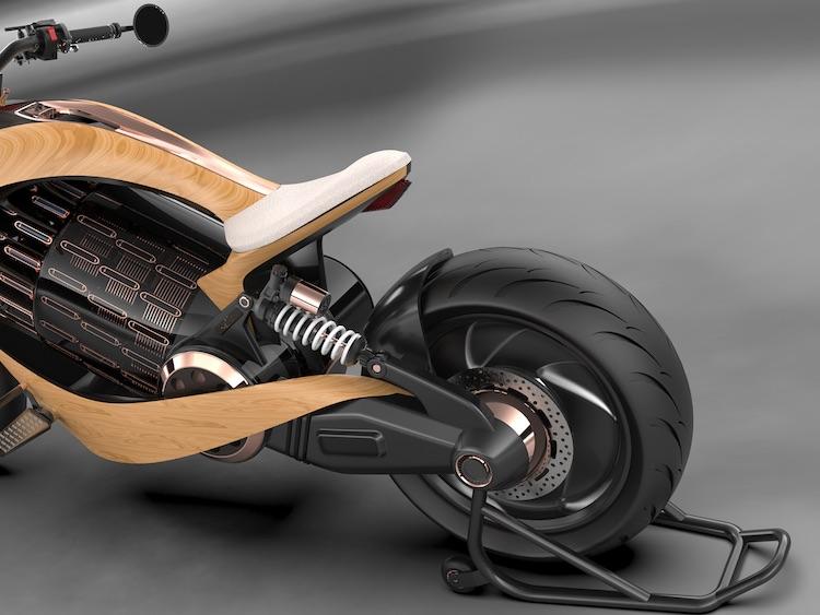 Newron Motors EV-1, una impresionante motocicleta eléctrica hecha de madera