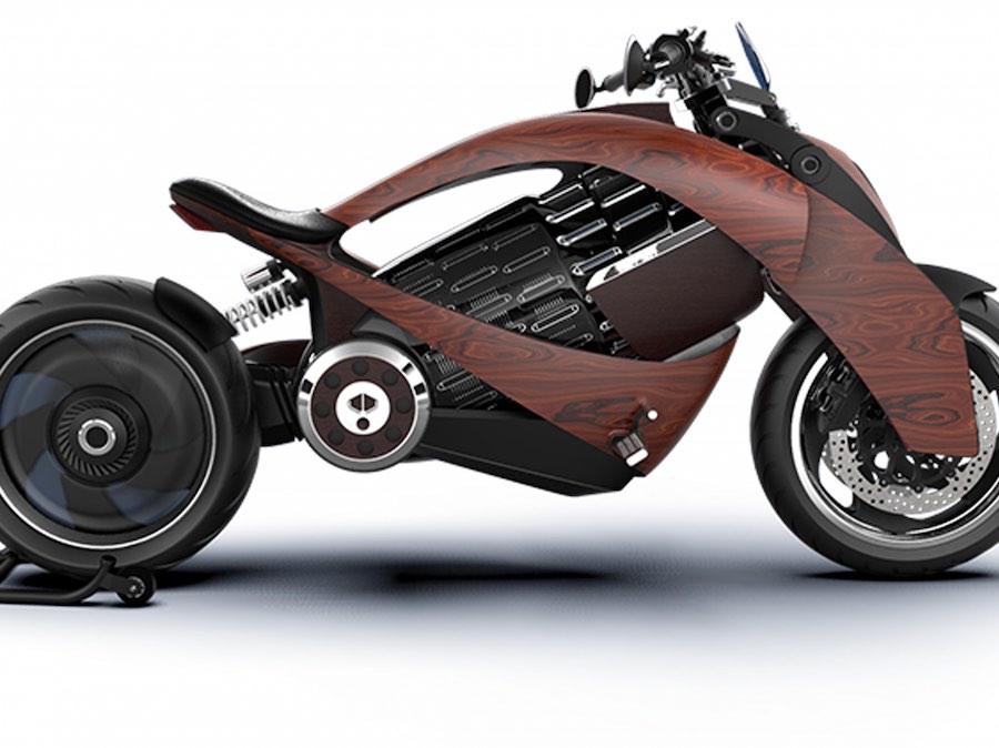 Conoce la impresionante motocicleta eléctrica EV-1 de Newron Motors hecha de madera
