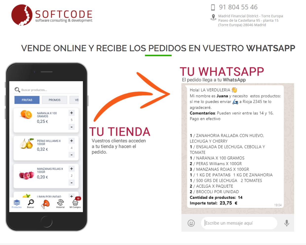 SOFTCODE SL lanzó hace una semana MercApp, iniciativa gratuita para que las tiendas puedan vender a través de Whatsapp.