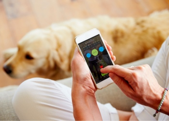 Mujer mirando la aplicación de monitoreo de salud en teléfonos inteligentes