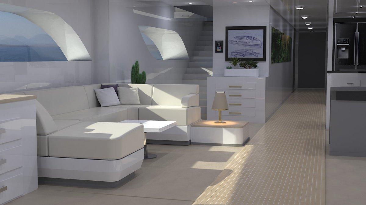 El interior cuenta con una sala de estar contemporánea, tres amplias suites, cocina, un lounge y un amplio salón en la cubierta superior.