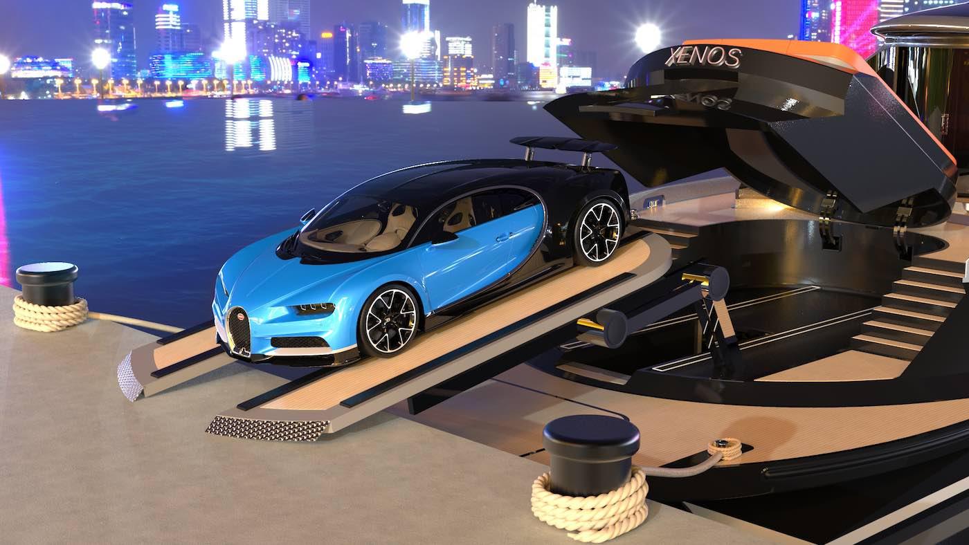 El automóvil, Bugatti o no, se puede bajar directamente al muelle gracias a un elevador hidráulico y una plataforma ajustable.