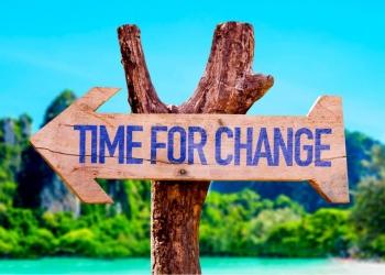 Cartel que dice: Tiempo para el cambio