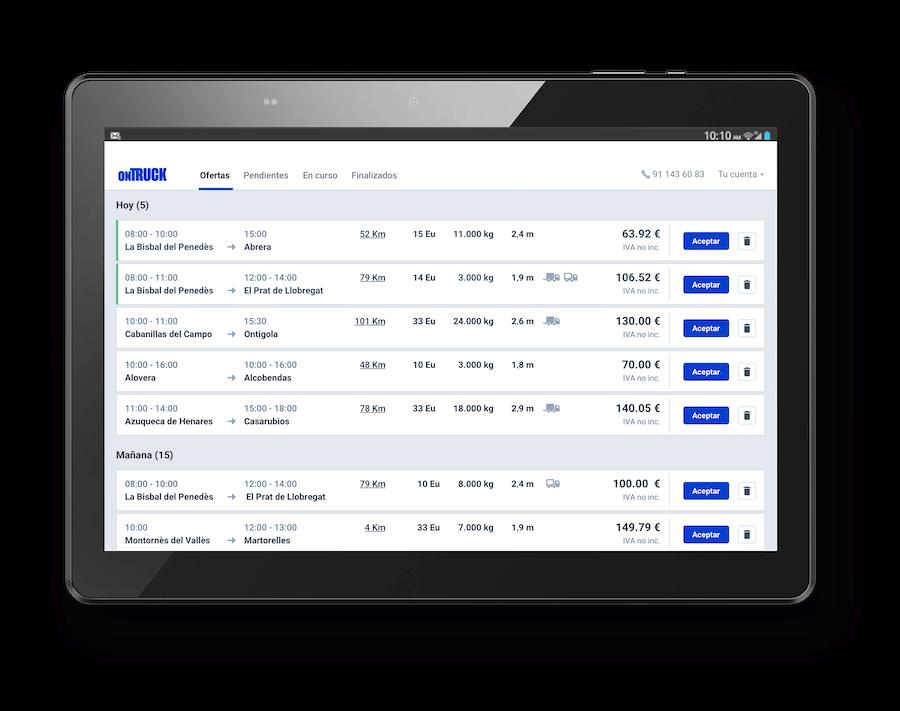 Ontruck lanza una herramienta web que permite a las flotas duplicar el número de cargas