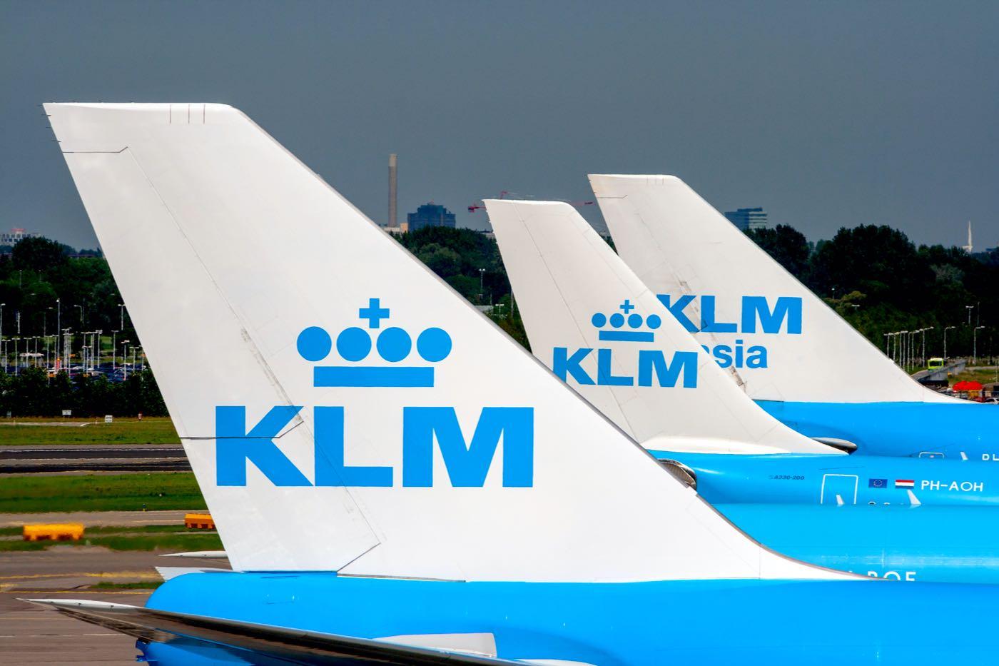 Aviones de KLM Airlines en el aeropuerto Schiphol de Ámsterdam.