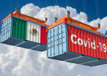 Contenedor con texto Coronavirus Covid-19 en el lado y el Contenedor con la bandera de México.