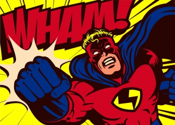 Superhéroe de estilo cómic pop art