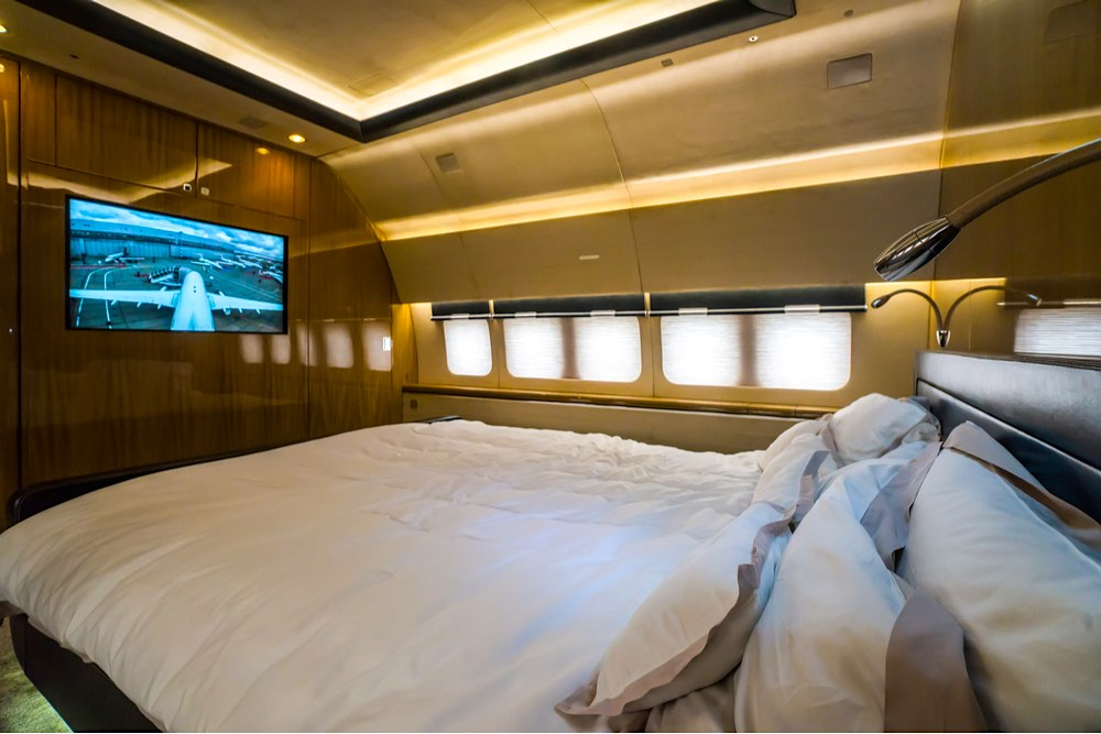 Interior de lujo (dormitorio) de jet privado