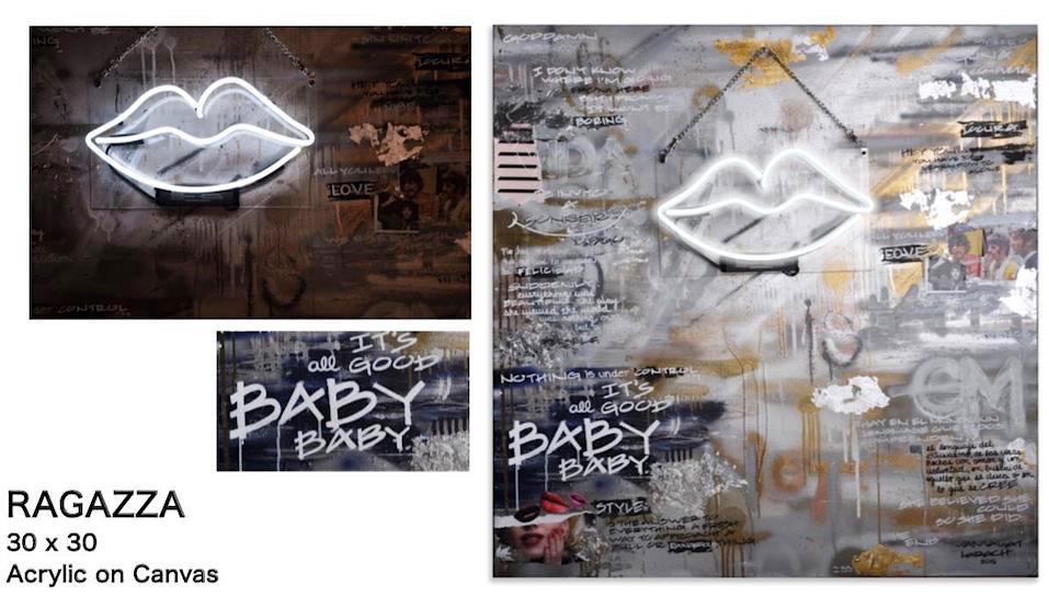 ITS ALL GOOD BABY, BABY: Técnica mixta, acrílico sobre lienzo. 30x30. Pieza A MEDIDA