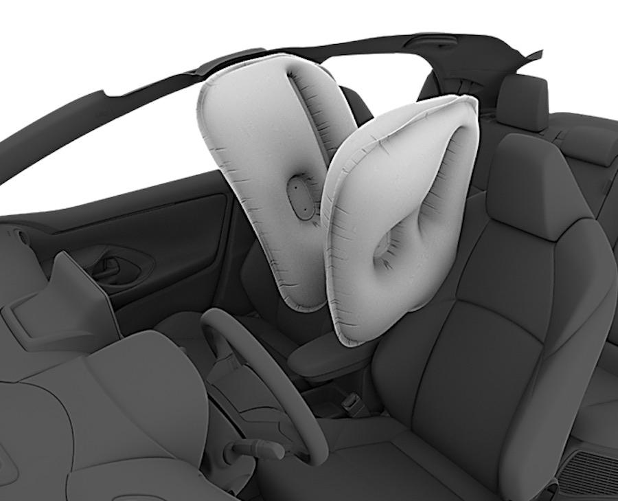 Airbag central, único en el segmento B, que protege a los ocupantes delanteros de posibles colisiones entre ellos en caso de accidente.