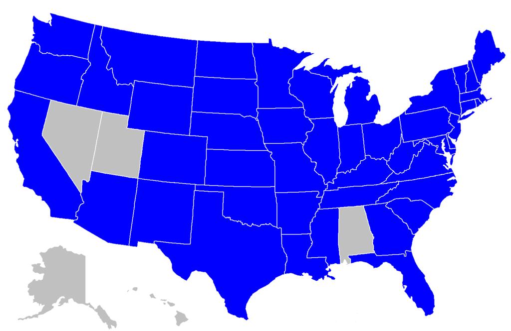 Mapa de loterías de Estados Unidos