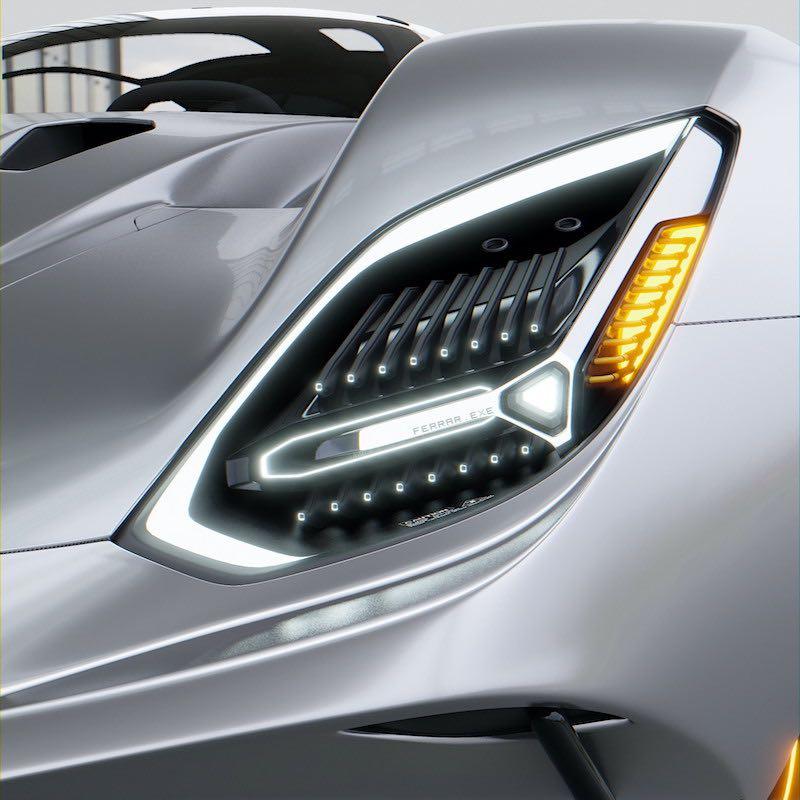 El diseñador chino-canadiense Leyang Bai visualiza este futurista Ferrari.